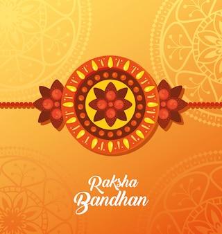 Greeting card with decorative rakhi for raksha bandhan, indian festival for brother and sister bonding celebration, the binding relationship