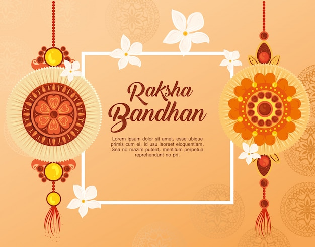 Greeting card with decorative set of rakhi for raksha bandhan, indian festival for brother and sister bonding celebration, the binding relationship