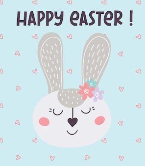 Greeting card with an easter bunny and hearts. happy easter!