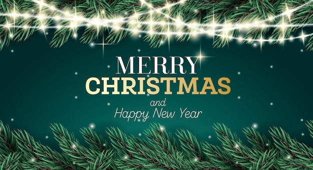 Greeting card with fir branch and neon garland on green background. merry christmas and happy new year. vector illustration.