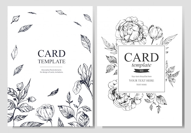 Greeting card with floral elements
