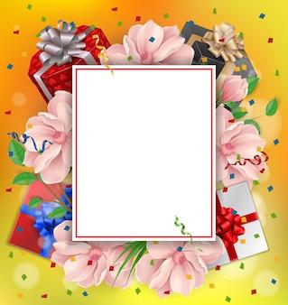 Поздравительная открытка с цветами и рамкой