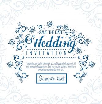 花と葉のグリーティングカード、花と葉の装飾の結婚式の招待状
