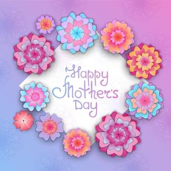 절단된 종이의 스타일로 어머니의 날을 위한 꽃 인사말 카드.