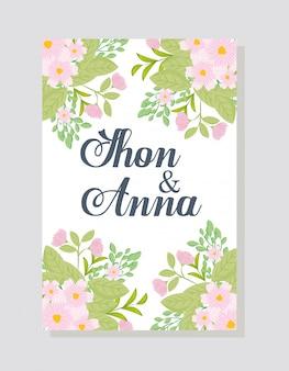 花ピンク色と葉、花と葉の装飾の結婚式の招待状のグリーティングカード