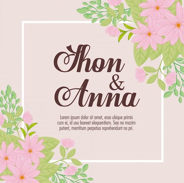 ピンクの花と葉のグリーティングカード、ピンクの花と葉の装飾の結婚式の招待状