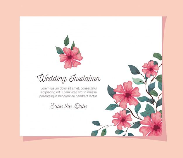 花のピンク色のグリーティングカード、枝と葉のピンクの花と結婚式の招待状装飾イラストデザイン