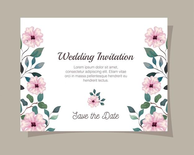 꽃 핑크 색상 인사말 카드, 꽃과 결혼식 초대장 분기 및 잎 장식 일러스트 디자인 핑크 색상