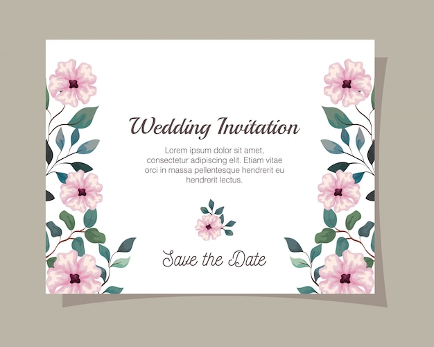 Greeting card with flowers pink color, wedding invitation with flowers pink color with branches and leaves decoration illustration design