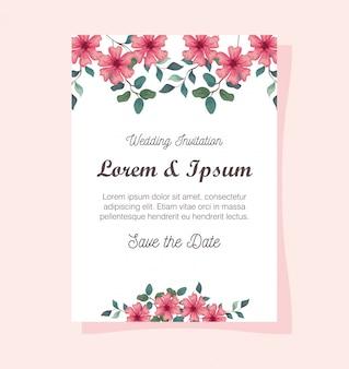 꽃 핑크 색상 인사말 카드, 꽃과 결혼식 초대장