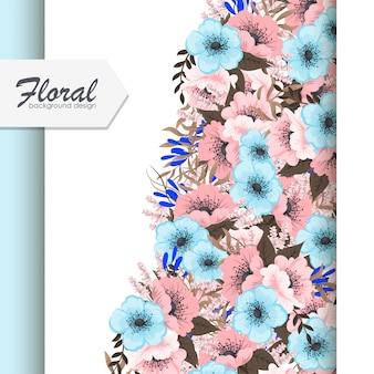 Greeting card with flowers, pink and light blue flowers
