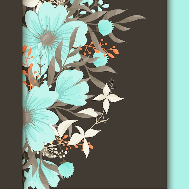 꽃, 수채화 인사말 카드입니다. 벡터 프레임