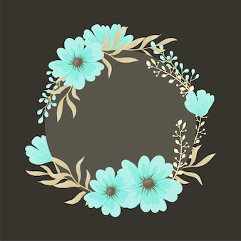 Greeting card with flowers, watercolor. vector wreath frame
