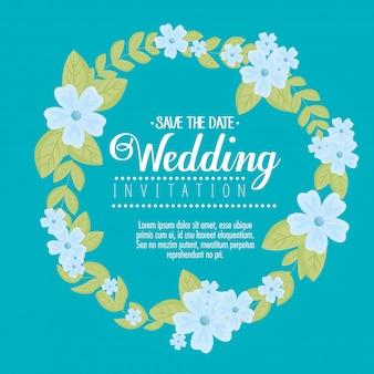 青い花のフレームの円形のグリーティングカード、青い花の結婚式の招待状