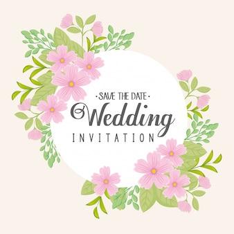 花ピンク色のフレーム円形のグリーティングカード、ピンクの花で結婚式の招待状