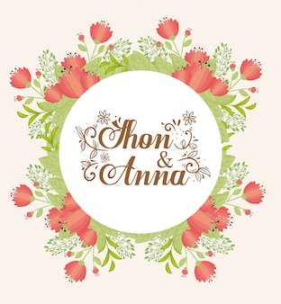 花の赤い色の円形のフレーム、赤い花の結婚式の招待状のグリーティングカード