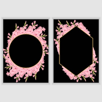 Greeting card with gladiolus floral frame