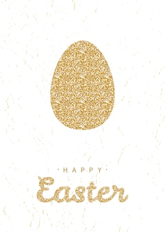 Greeting card with glittering golden easter egg