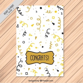 Greeting card with golden and black streamer