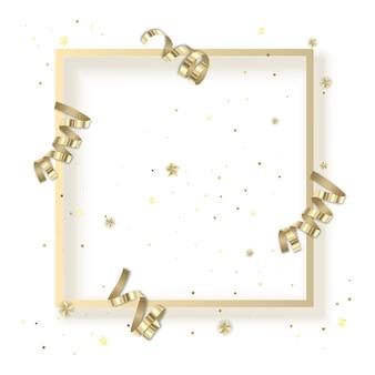 황금빛 반짝이가 있는 인사말 카드와 황금 먼지가 있는 구불구불한 리본이 있는 프레임