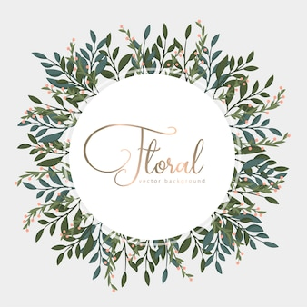 Greeting card with golden leaves, wreath.
