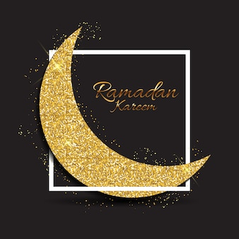 Greeting card with golden moon for muslim community festival ramadan kareem.