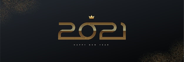 Greeting card with golden  new year logo on black background.