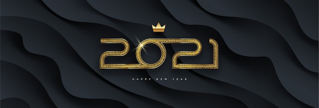 Greeting card with golden  new year logo on black layered background.