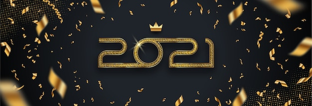 Greeting card with golden  new year logo and confetti on black background.