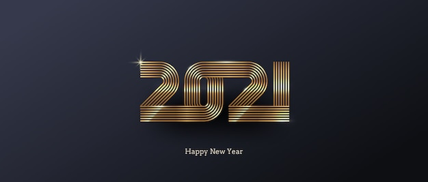 Открытка с золотым новогодним логотипом на черном фоне.