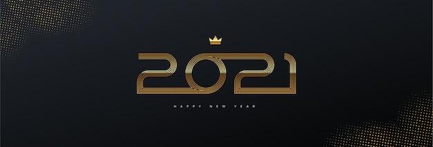 黒の背景に金色の新年のロゴのグリーティングカード。