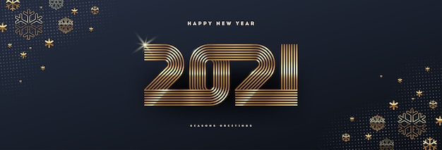 Greeting card with golden  new year logo and snowflakes on black background.