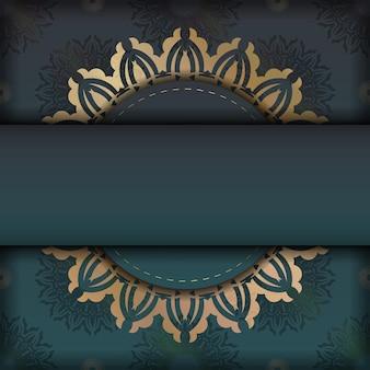귀하의 브랜드에 대한 그리스 금 장신구와 그라데이션 녹색 색상의 인사말 카드.