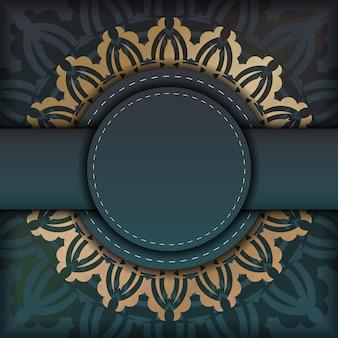 タイポグラフィ用に準備されたギリシャの金の装飾品とグラデーションの緑色のグリーティングカード。