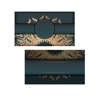디자인을 위한 인도 골드 패턴이 있는 그라데이션 녹색 색상의 인사말 카드.