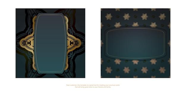 귀하의 브랜드에 대한 만다라 골드 장식으로 그라데이션 녹색 색상의 인사말 카드.