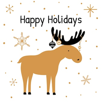 Greeting card with hand drawn Christmas Elk.