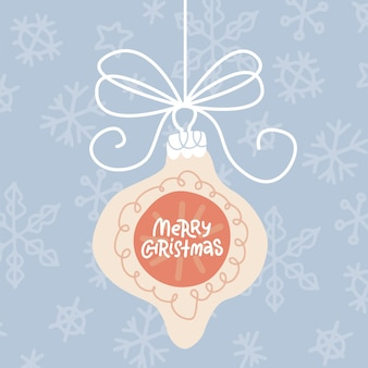 Greeting card with hanging xmas tree baule and quote merry christmas on it pastel flat vector illust...