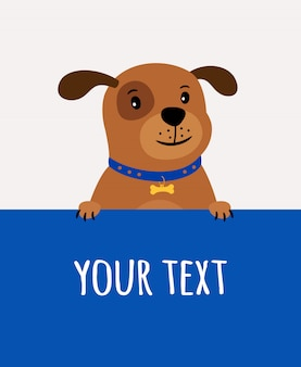 Greeting card with happy cute dog and place for text on blue