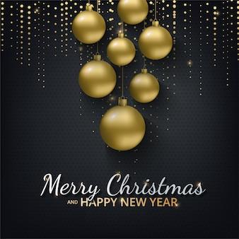 明けましておめでとうございます2021年とクリスマスのグリーティングカード。メタリックゴールドのクリスマスボール、装飾、きらめく、光沢のある紙吹雪