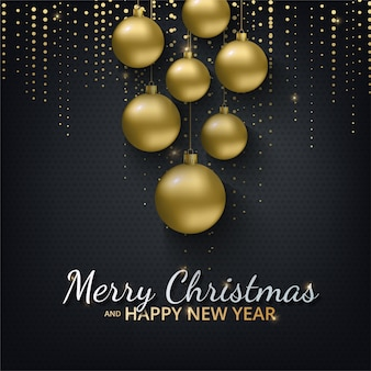 Greeting card with happy new year 2021 and christmas. metallic gold christmas balls, decoration, shimmering, shiny confetti