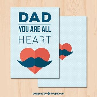 父の日の心臓と口ひげのグリーティングカード