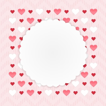 ピンクのハートのグリーティングカード。ベクトルイラスト