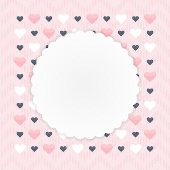 ピンクの上のハートのグリーティングカード。ベクトルイラスト