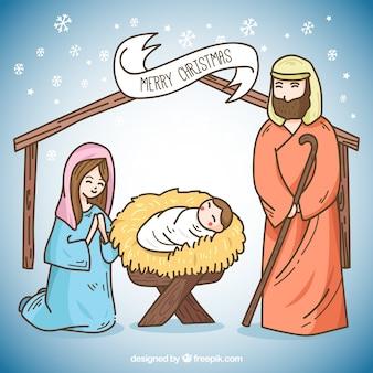 キリスト降誕シーンの素敵なポータルのイラストグリーティングカード