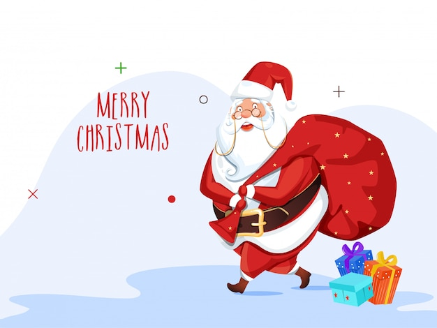 Greeting card  with illustration of santa claus lifting a heavy bag and gift boxes for merry christmas celebration.