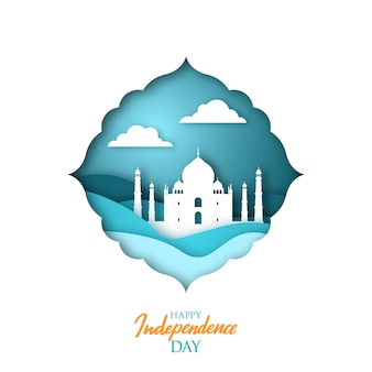 Greeting card with indian landmark. paper cut.