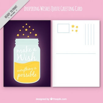 Greeting card with jar and quote