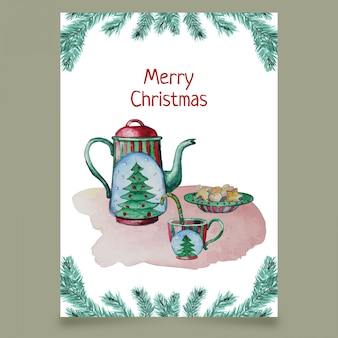 Greeting card with kettle, cup and cakes