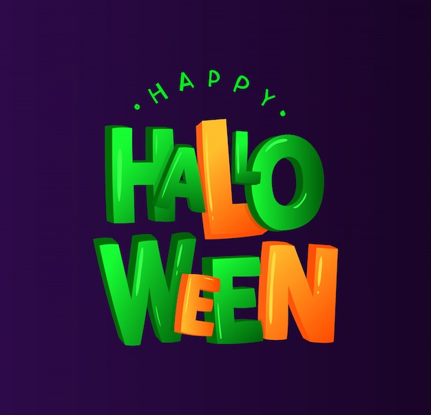 Greeting card with lettering for halloween isolated on dark background. vector bright green and orange typography